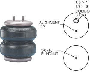 Firestone Replacement Air Spring - 267C1.5 Style - 1/8 NPT Combo Stud FIR6397