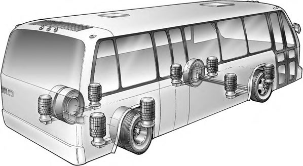 A cross section of a bus with revesible sleeve air bags