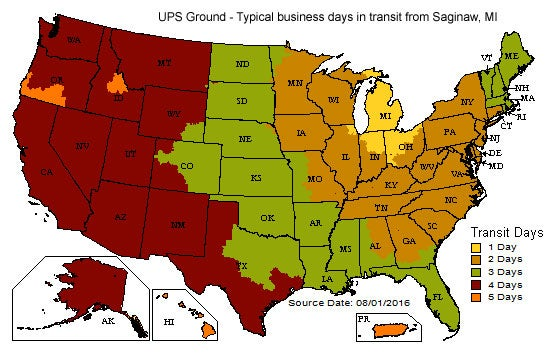 UPS Ground map for typical business days in transit from Saginaw, MI.
