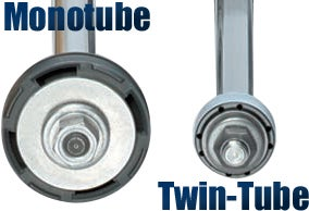 This photo dramatically illustrates the size difference between the larger working piston inside a Bilstein monotube shock and smaller one found in a typical twin tube shock.