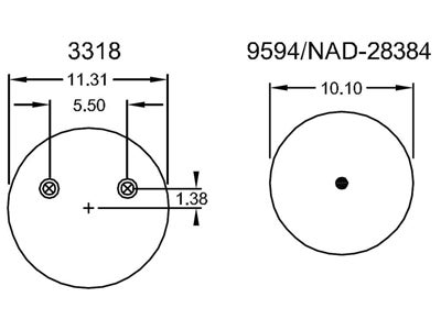 Firestone air spring W01-358-8091 top and bottom view schematic