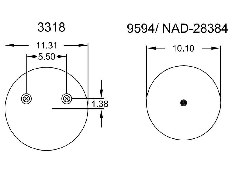 w01 358 8774 firestone airide air spring 1t19lf 7 freightliner air compressor schematic firestone replacement air bag w01 358 8774 top and bottom view schematic