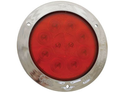 SuperNova 4 Inch 10-Diode Pattern LED Stop-Tail-Turn Lamp with Flange - Red 53302