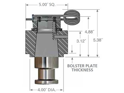 Holland 2 Inch Removable Series Kingpin with 5 Inch Housing - 1/4 inch Bolster Plate KP-0427