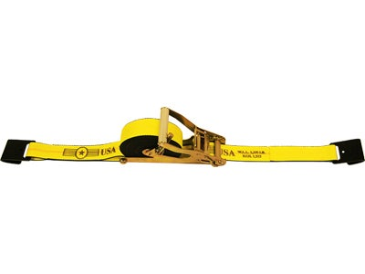2 Inch Self Contained Ratchet Strap Assembly with Flat Hooks - 27 Feet, 10,000 lbs. Capacity SCR5027FH