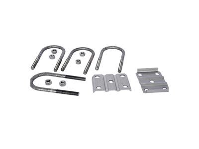 Trailer U-Bolt Kit for 3 inch wide Round Axle, 7-1/4 Inch Long, 1-3/4 or 2 Inch Spring, Plain Finish APUBR-9