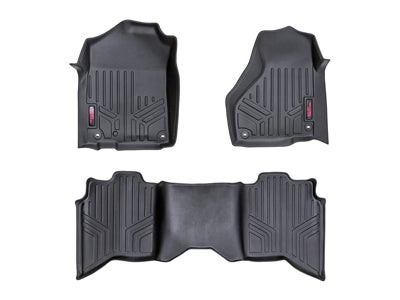 Rough Country Floor Mats for the Crew/Mega Cab Dodge Ram 1500 with Full Length Floor Console - Front and Rear RCM-31213