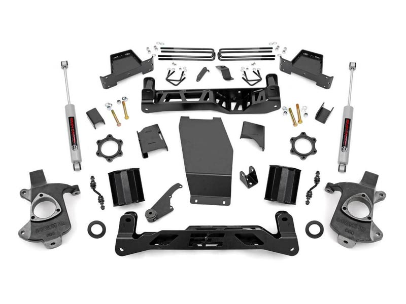 Rough Country 7 inch Suspension Lift Kit for the Silverado, Sierra 1500 4WD  with Stock Cast Aluminum or Stamped Steel Control Arms