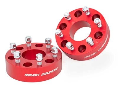 Rough Country 2 inch Wheel Spacer Pair, 6-by-5.5-inch Bolt Pattern | Red RC1101RED