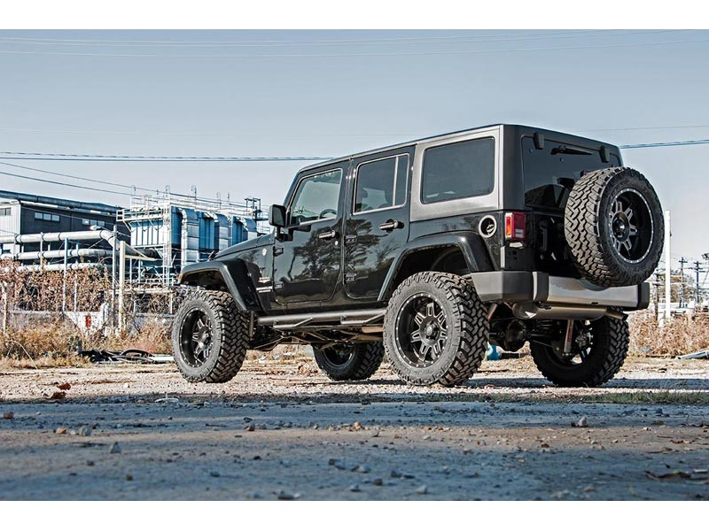 Rough Country Control Drop Arm 3.5 Inch Suspension Lift Kit 69430 Side And  Rear View