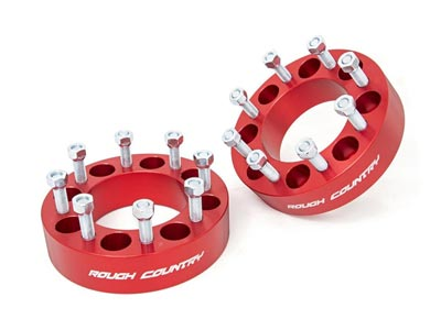 Rough Country 2 inch Wheel Spacer for the GM Silverado, Sierra and Dodge Ram Truck - 8-by-6.5 inch Bolt Pattern, Red RC1095RED