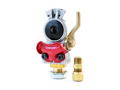Gladhand - Emergency, Aluminum Body, Red with Shut Off 441162