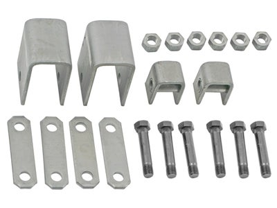 Single Axle Trailer Hanger Kit for Double-Eye Springs - 3-1/4 inch Front Height, 9/10 inch Rear Height APS5