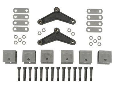 Tandem Axle Trailer Hanger Kit for Double-Eye Springs - 2-1/2 inch Front Height, 2-1/2 inch Rear Height, 2-1/2 inch Center Height APT9