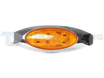 Oblong Amber LED Marker Lamp with Chrome Bezel