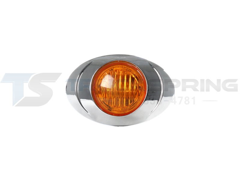 3 inch Amber Oval LED Marker Lamp with Chrome Bezel