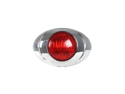 Round Red LED Marker Lamp with Chrome Bezel