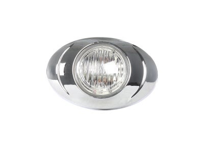 Round Red LED Marker Lamp with Clear Lens and Chrome Bezel