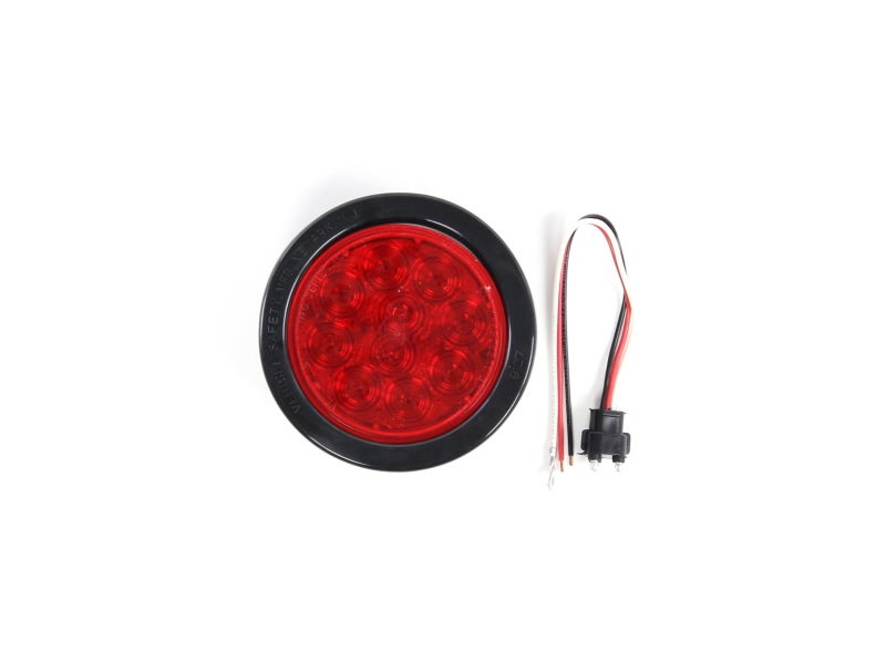 4 inch Red 10 Diode Round Sealed LED Stop / Tail / Turn Lamp Kit with  Grommet and Pigtail - 44 Series
